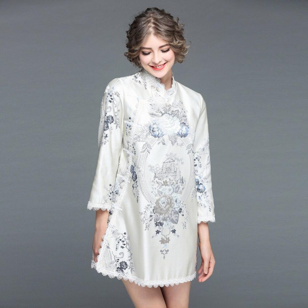 Broderie Lâche Été Cheongsam Jacquard Mini Style Uniquewho Printemps Dame Fleurs Chinois Pour 2018 Robe Le Exquis Femmes YqczwZ