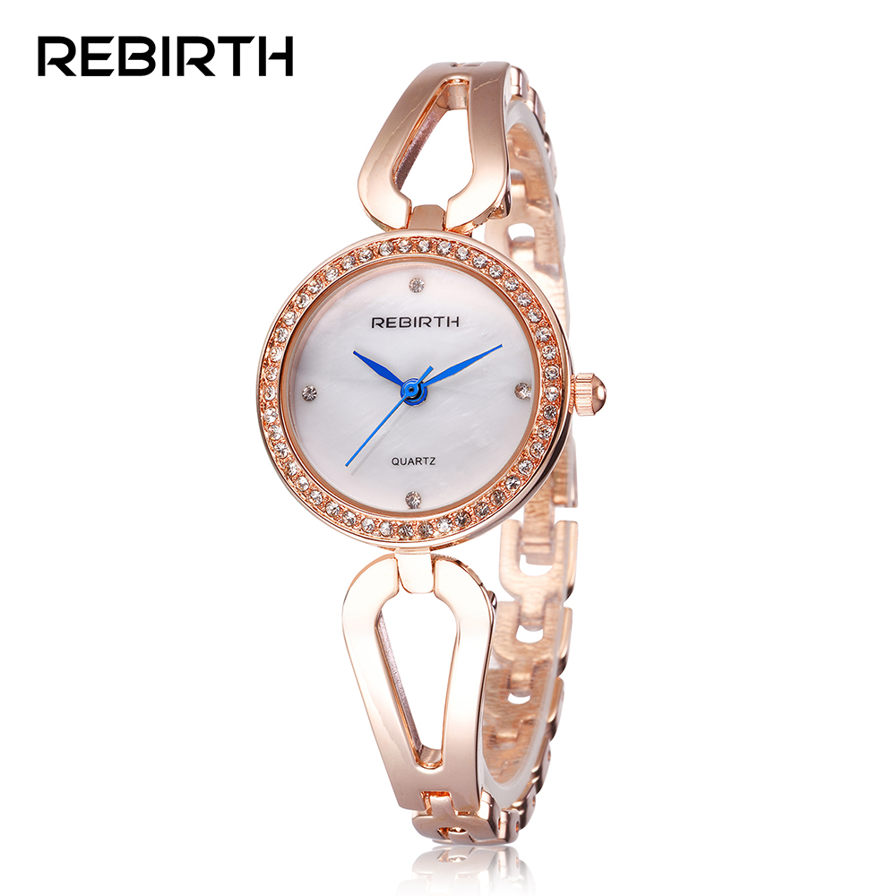 REBIRTH Top brand Diamond rose gold women rhinestone watch female fashion steel women quartz bling dress watch ladies bracelet brand diamond rose gold women rhinestone watch female butterfly fashion steel women quartz bling dress watch for ladies bracelet