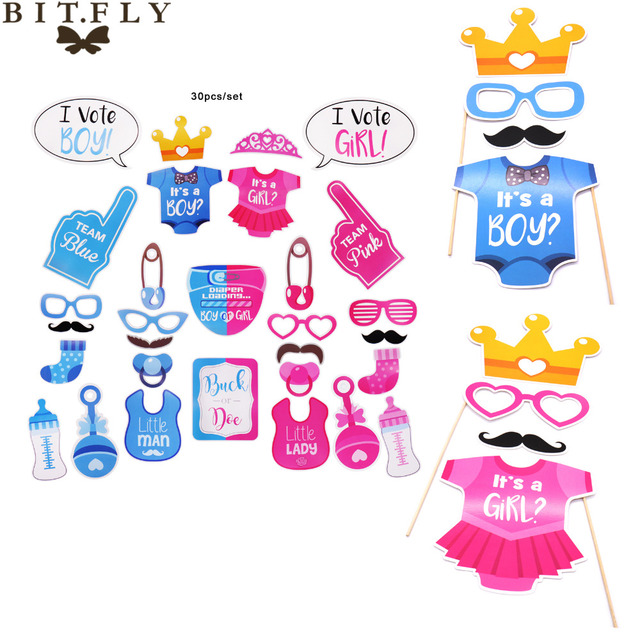 30pcs Set Photo Booth Props It Is A Boy Girl Baby Shower For 1st Birthday