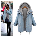 Winter Jackets Women 2016 Loose Fit Hooded Jacket Faux 2 Pieces Cowboy Coat Plus Size 4XL Size Overcoat