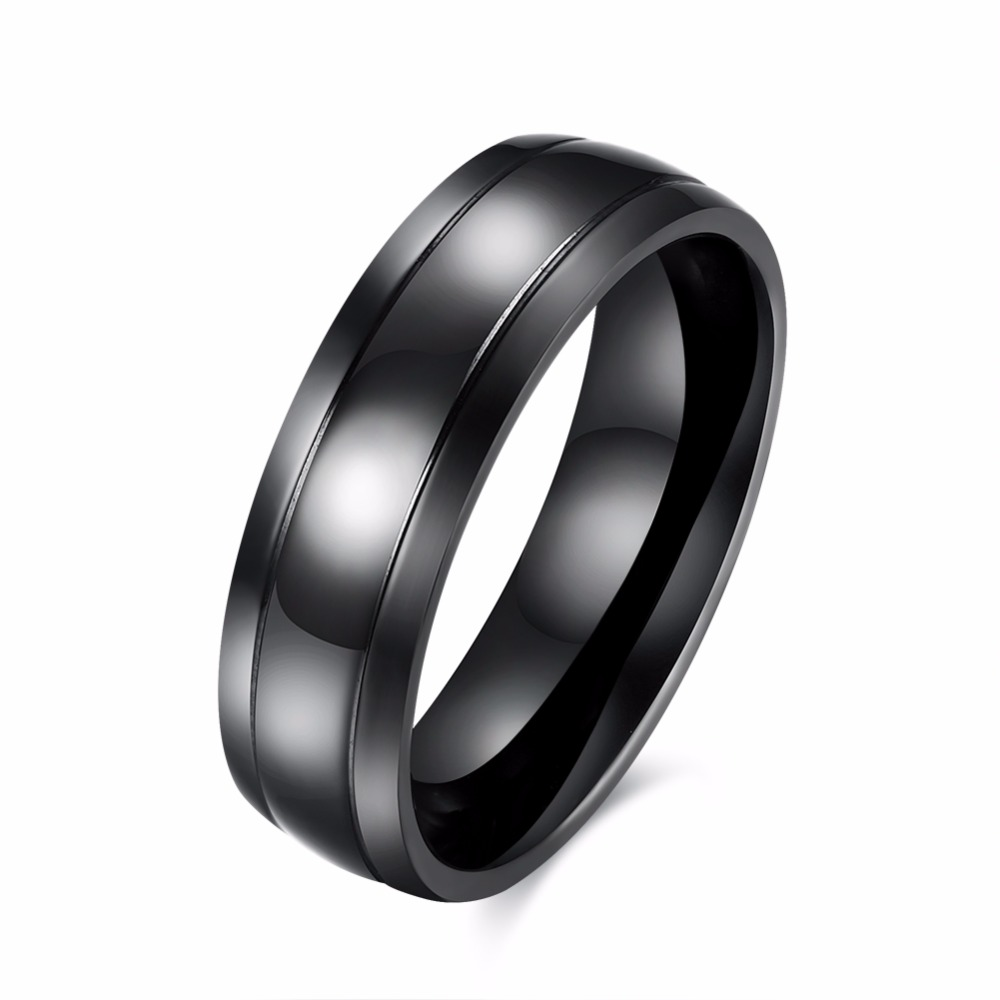 Mens Rings Black Pure Tungsten Carbide Wedding Engagement Band Ring For Men Fashion Trendy Jewelry 6mm