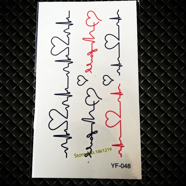 Hot Fashion Flash Temporary Tattoo Sticker GYF-46 Creative Love Electrocardiogram Heartbeat Ecg Waterproof Fake Tattoo Lover