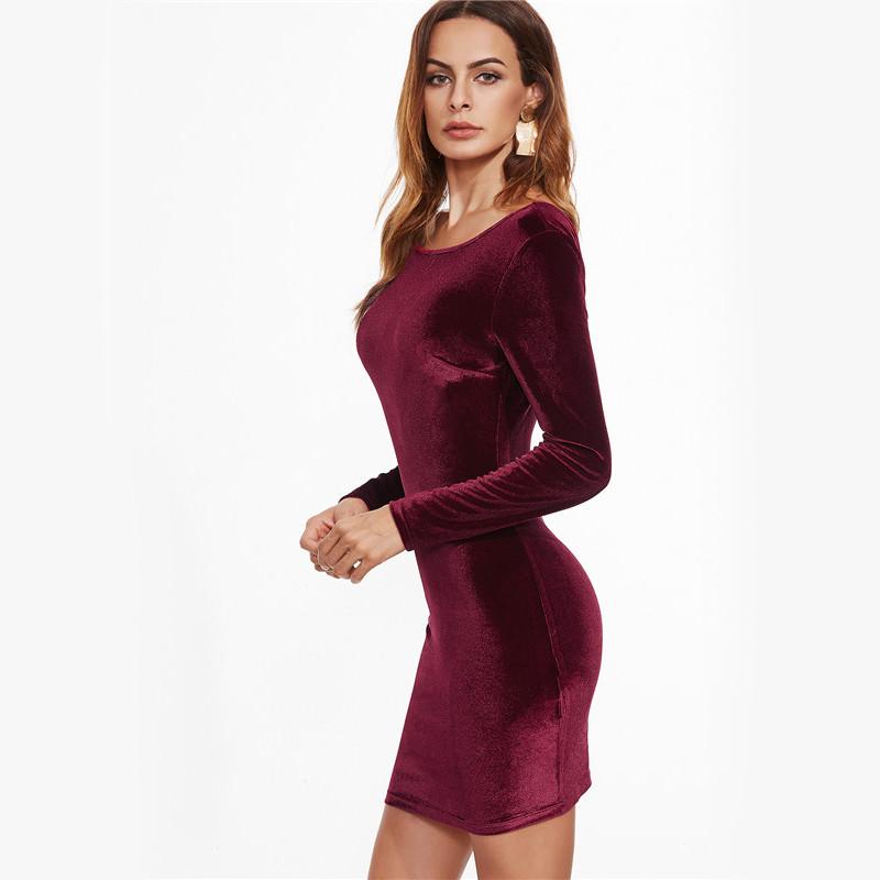 COLROVIE Sexy Club Outfits European Style Dress Party Short Long Sleeve Dress Burgundy Open Back Velvet Bodycon Dress 4