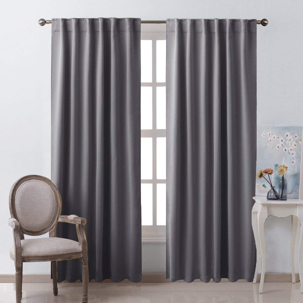 Nicetown Solid Color Blackout Curtain Thermal Insulated
