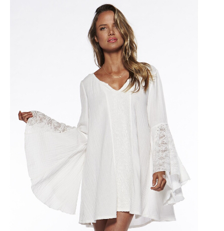 6aaab8e820 US $16.79 10% OFF|2016 Spring Women Loose Dress For Hippie Boho Bell Long  Sleeve Gypsy Festival Casual White Loose Lace Mini Beach Dress-in Dresses  ...