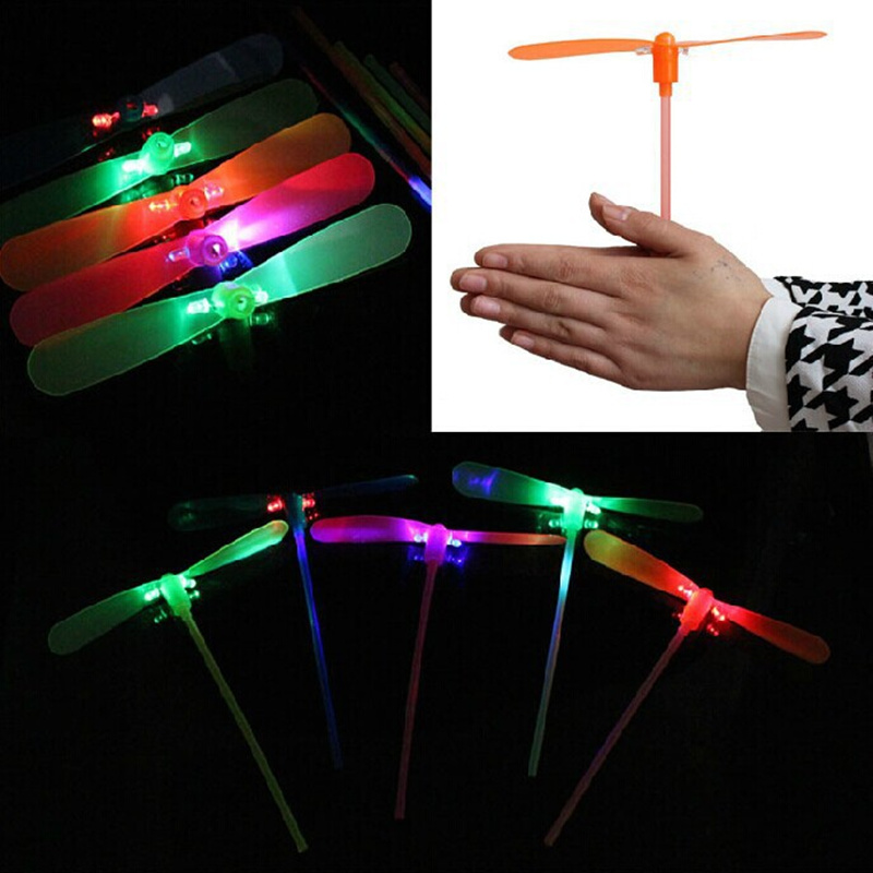 5pcs Novelty flying saucer glow bamboo dragonfly flying luminous toys small night light childrens kids toys birthday gift