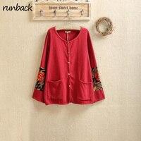 Runback Fashion Flower Print Long Sleeve Vintage O Neck Bouses Shirts Women Black Loose Soft Retro
