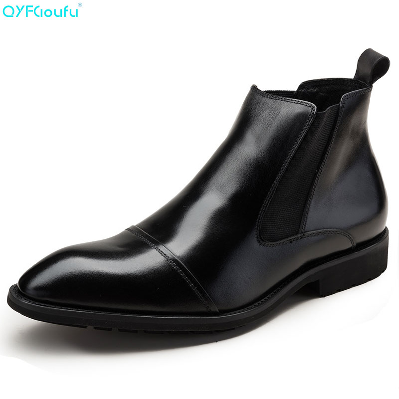 QYFCIOUFU Pointed Toe Luxury Genuine Leather Chelsea Boots Man England Style Fashion Ankle Work Shoes Cap Toe Mens Dress BootsQYFCIOUFU Pointed Toe Luxury Genuine Leather Chelsea Boots Man England Style Fashion Ankle Work Shoes Cap Toe Mens Dress Boots