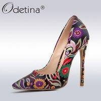 Odetina 2017, Новая мода женские пикантные туфли-лодочки цветок печати на очень высоком стилет Каблучки Дизайнерская обувь для вечеринок женские...