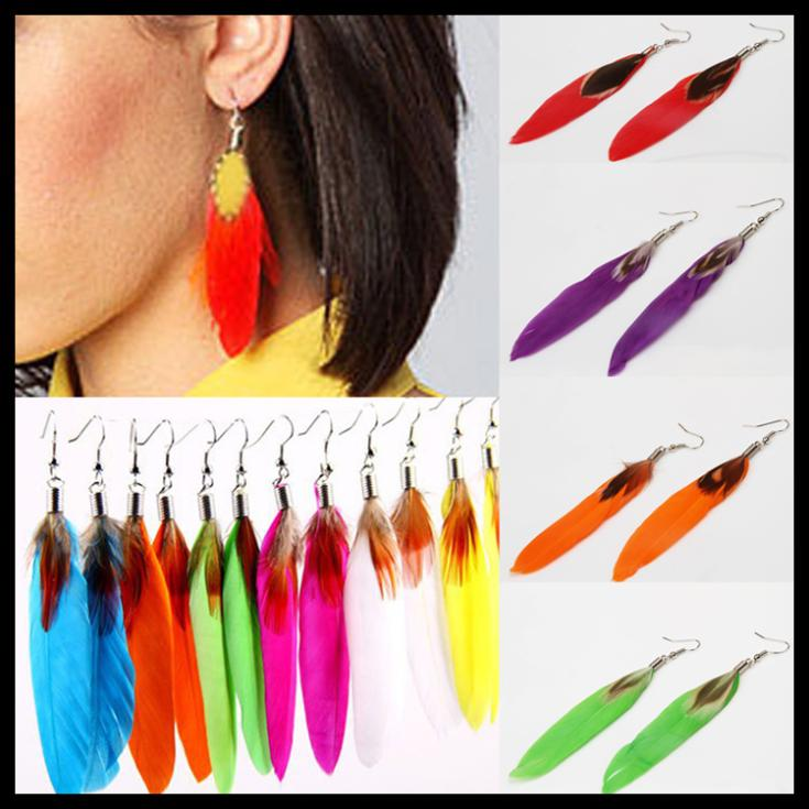 Newly Charming Jewelry Accessories Goose Feather Shaped Woman Dangle Earrings 12 Colors EAR-0112