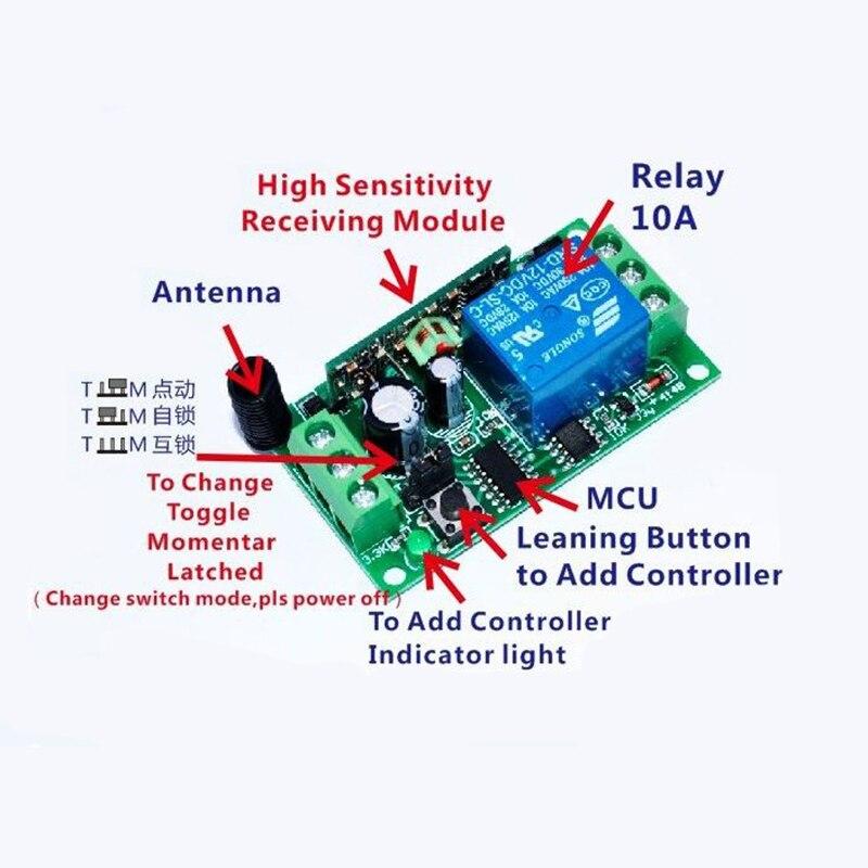 DC12V 1CH 10A Беспроводной Выключатель питания системы teleswitch 18 приемник и 2 передатчика пульт дистанционного управления 10A выходное состояние регулируется - 3