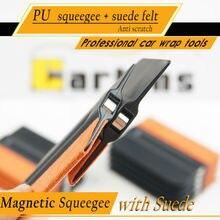 CARBINS Magnetico nero seccatoio con pelle scamosciata feltro di alta resistenza allusura in gomma raschietto seccatoio pellicola auto tinta wrap sticker strumento