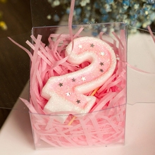 1PC/lot Birthday Party Decoration Number Candles 0-9 For Kids Cake Show Pink Butterfly Candle Supplies