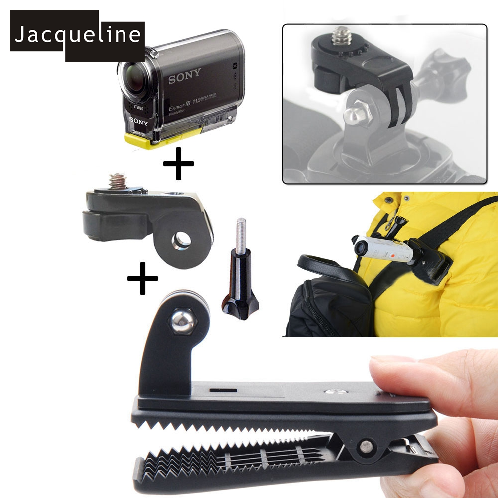 Jacqueline for Bag Cap Clip Mount for Sony Action Camera Hdr-as15 As20 As30v As100v As200v Hdr-az1 Mini Fdr-x1000v zs s3 hi quality curved surface mount pack with 3m sticker adhesive for sony fdr x1000v hdr as200v hdr as20 hdr az1vra
