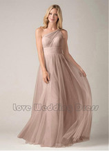 One Shoulder Tulle Bridesmaid Dresses A Line Floor Length Bridesmaid Dress Ruched Pleats Draped Vestido De Festa