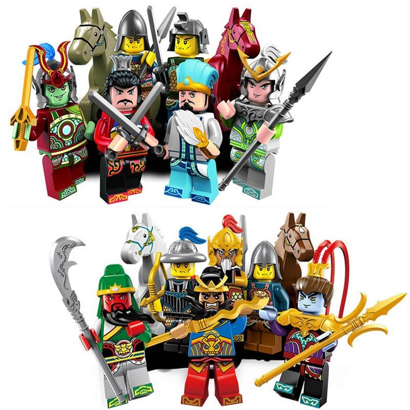 The Romance of Three Kingdoms Heroes War Horse Model Sanguo Sanguosha Caocao Figures Building Blocks Enlighten Bricks Kids Toys a knight of the seven kingdoms