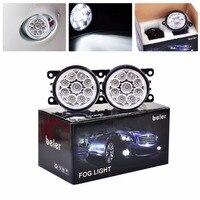 beler 9 LED Round Front Passenger Side + Driver Side Fog Lamp Lights Daytime Running Lights 4F9Z 15200 AA For Suzuki Swift+ 2005