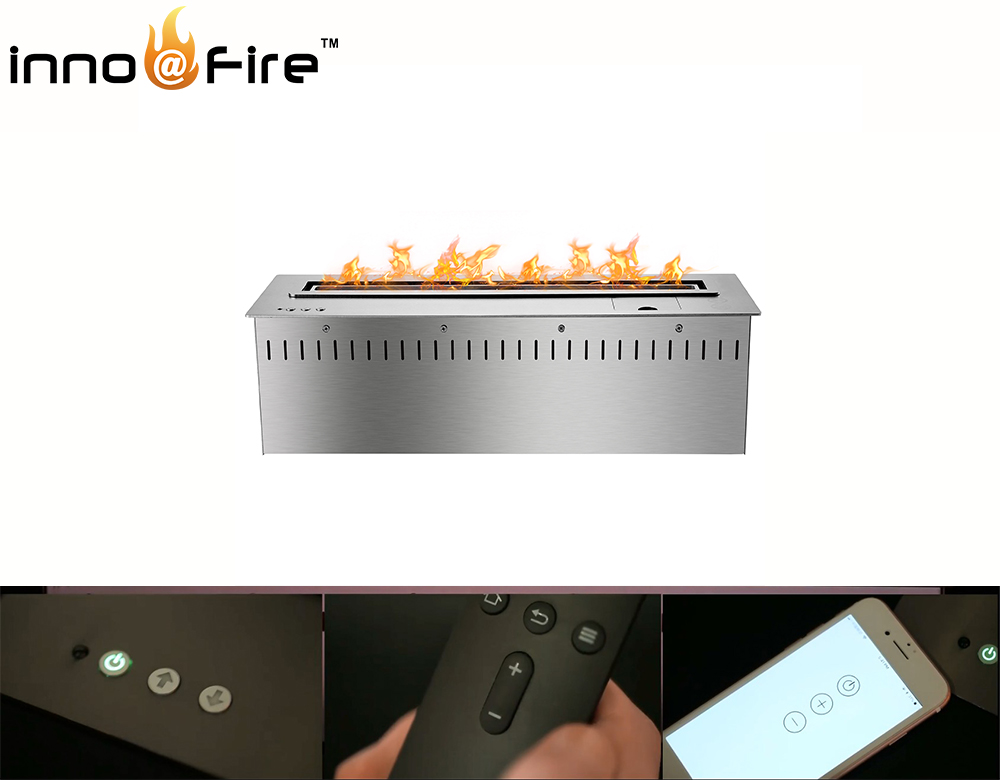 On Sale 48 Inch Remote Control Intelligent Silver/ Black Bio Ethanol Fireplace