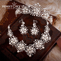 2015 Spring New Design Flower Crystal Pearl Bride 3pcs Set Necklace Earrings Tiara Bridal Wedding Jewelry