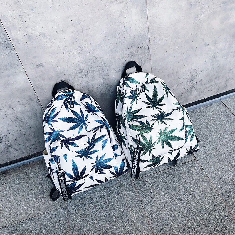 Teen Girl Bag Fashion Backpack Woman Zipper Beach Green Leaf Fashion Trend Female Backpack Travel Large Capacity Bag Hot Sale(China)
