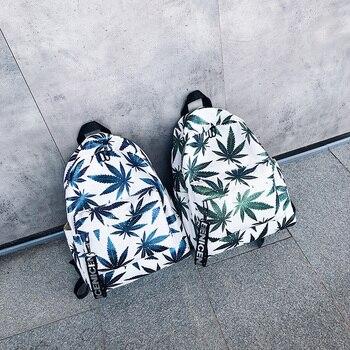 Teen Girl Bag Fashion Backpack Woman Zipper Beach Green Leaf Fashion Trend Female Backpack Travel Large Capacity Bag Hot Sale 1