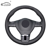 Artificial Leather car steering wheel braid for Volkswagen VW Gol Tiguan Passat B7 Passat CC Touran/Custom made Steering cover