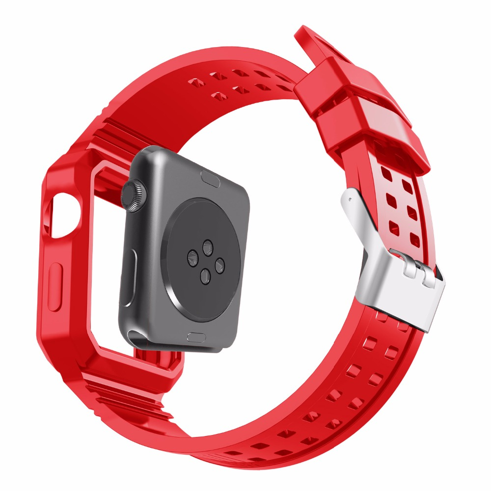 Watch Band With Protective case For Apple Watch Bands 38mm 42mm Case series 1 2 3 Colorful TPU Rubber Silicone Watches Bands series 1 2 3 soft silicone case for apple watch cover 38mm 42mm fashion plated tpu protective cover for iwatch
