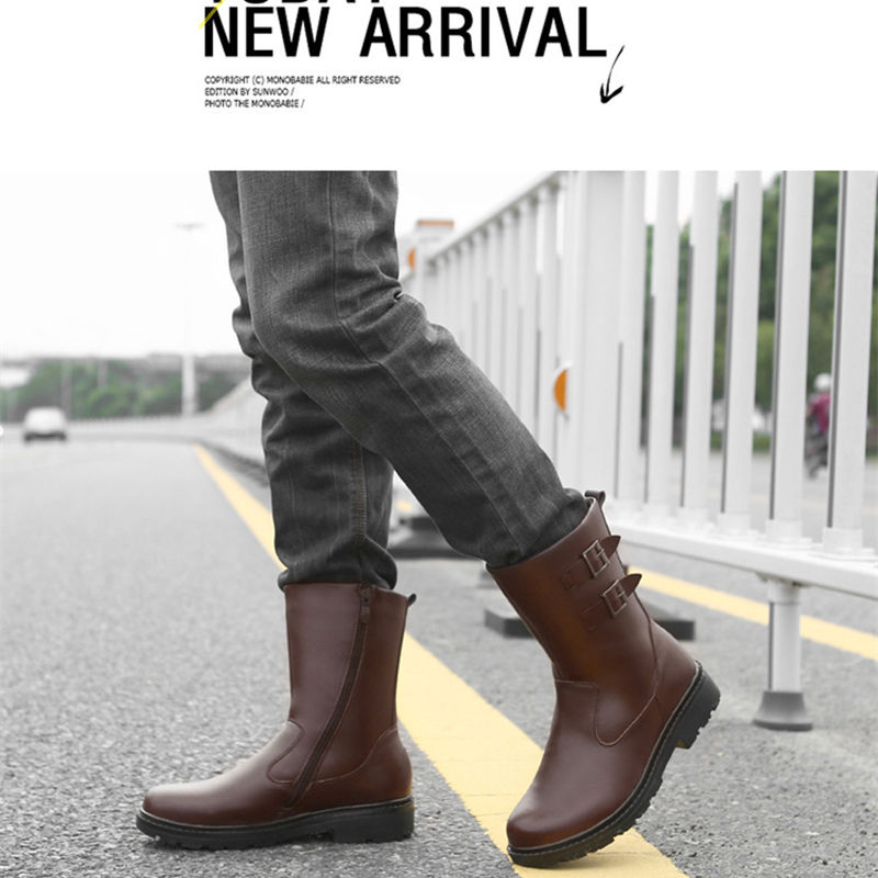 US Size New Trendy Mens Leather Zip Waterproof Super Warm Mid calf Snow Boots Winter Outdoor Plush Cotton Shoes in Snow Boots from Shoes