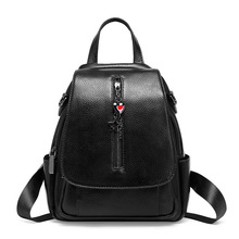 Fashion European and American style first layer cowhide women's backpack leather backpack leather pendant backpacks women цены онлайн