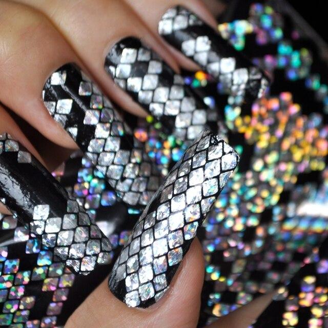 Holographic Finger Nail Art Foils Silver Snakeskin Style Intensive