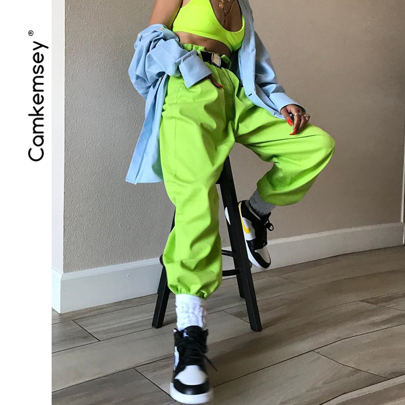 Camkemsey Neon Green Hip Hop Street Harem Pants Women 2019 New