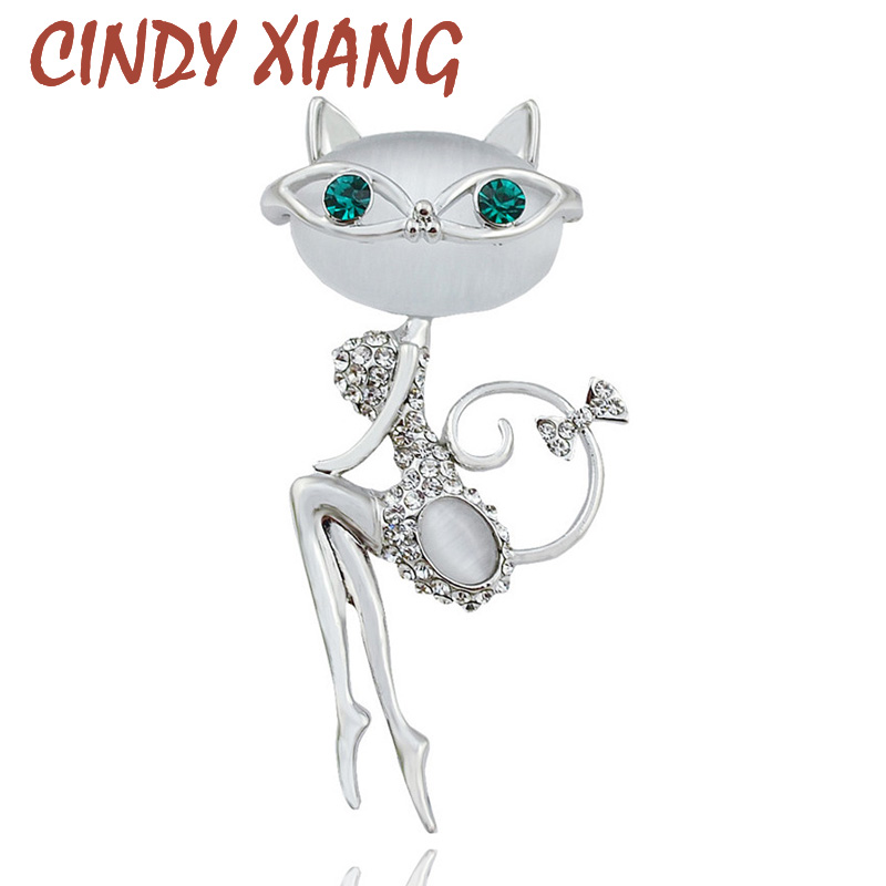 new fashion 2016 opal and rhinestone wear glasses cat brooches cute and sexy cat pins and brooches wedding accessories