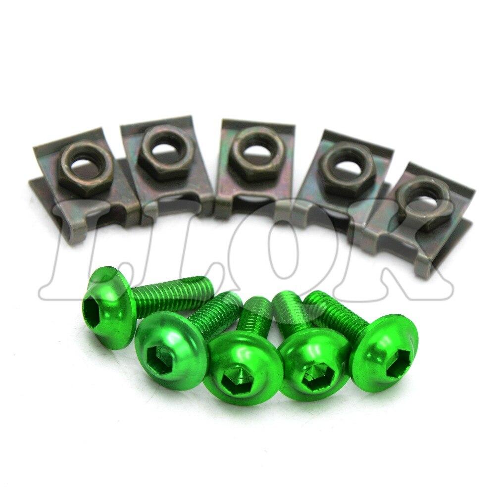 5pcs 6mm CNC Motorcycle Fairing body work Bolts Screws For kawasaki z800/e versione 13 14 15 zzr600 zxr400 z750s zr750 er6n er6f