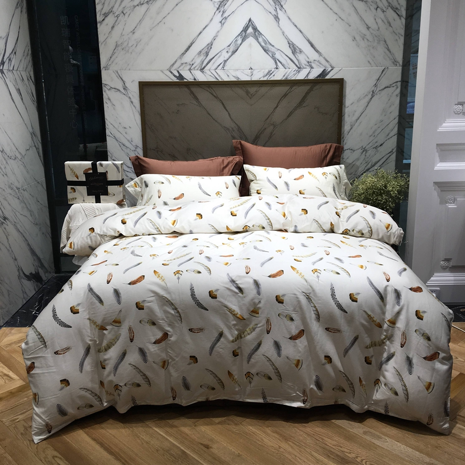 compare prices on modern duvets online shoppingbuy low price  - feather designer bedding set queen king size modern duvet cover brown bedsheet bedding pillowcase egyptian