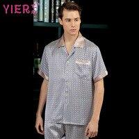 1701 YIER Merk Zomer 100% Zijde Pyjama Sets Mannen Korte Mouwen luxe Nobele Sexy Mannelijke Nachtkleding Pijamas Gratis Verzending