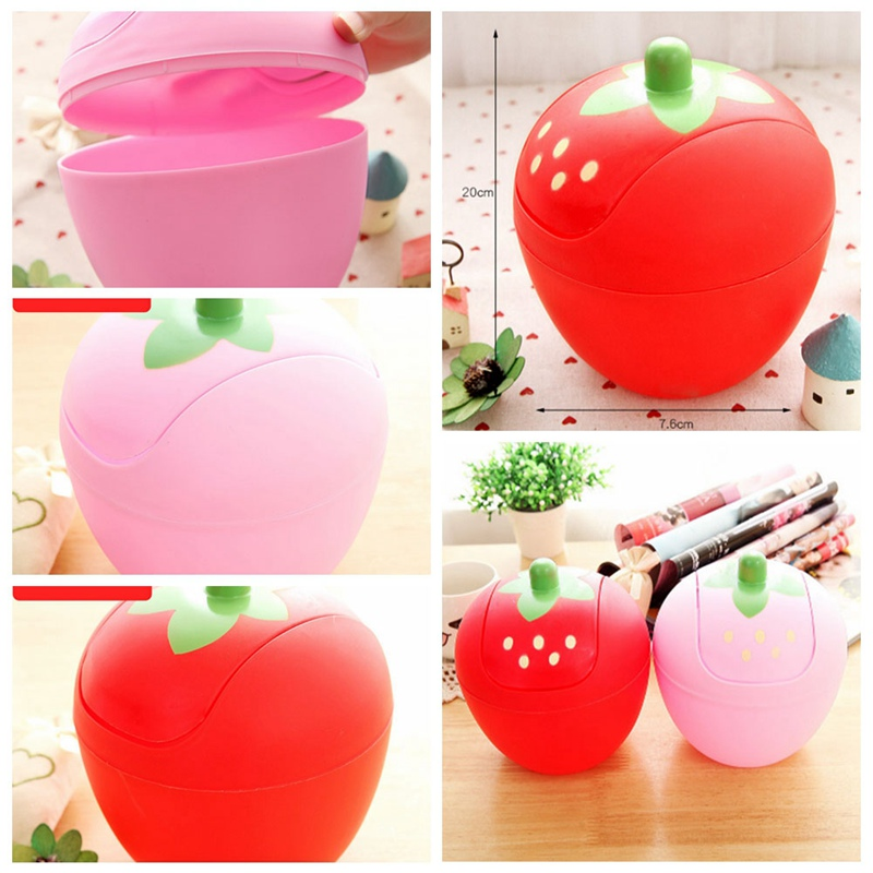 Fashion Strawberry Shape Mini Trash Can with Lid Home Office Desktop Plastic Garbage Waste Bins Storage Boxes
