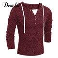 Новый осень зима теплая мужская бренд вязаный свитер толщиной полный рукав с капюшоном пуловер мужчины перемычки V-образным Вырезом свитера мужчин