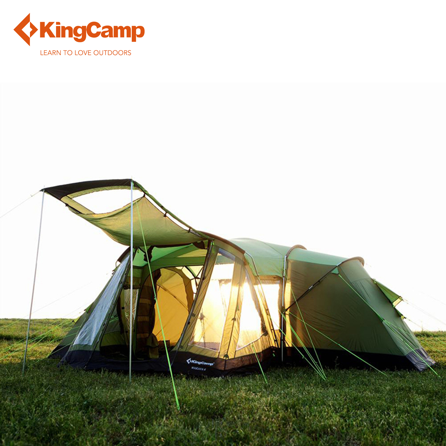 KingCamp 6-Person 3-Season Outdoor Family Tent with Great Room for Car Travel Rainproof  ...