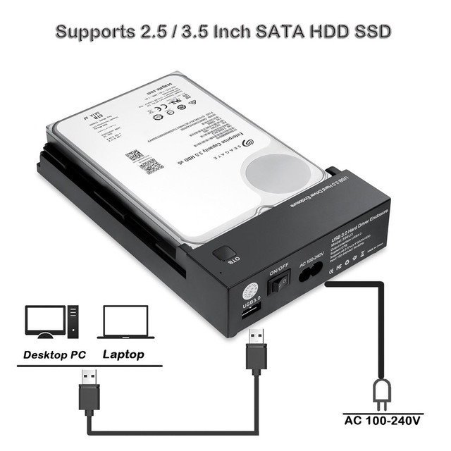"""Tool Free 3.5 Inch USB 3.0 to SATA III External Hard Drive Enclosure Case Support Both 2.5"""" & 3.5"""" SATA HDD SSD Built-in Adapter 3"""