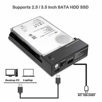 "Tool Free 3.5 Inch USB 3.0 to SATA III External Hard Drive Enclosure Case Support Both 2.5"" & 3.5\"" SATA HDD SSD Built-in Adapter"