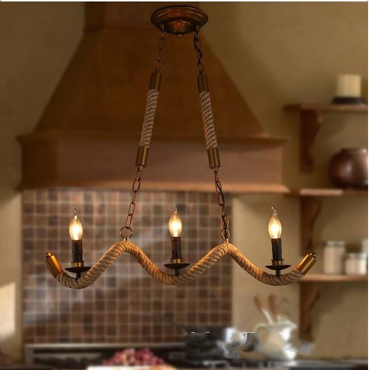 Vitrust Industrial Pendant Lights Vintage Rope Hanging Fixture Home Lighting Loft Cafe Bar Nordic Diningroom Candle Lamps