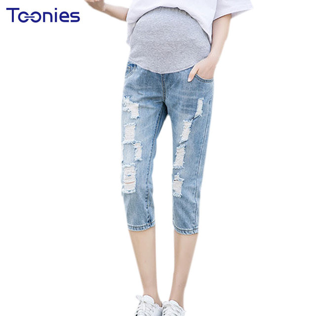 1520350f9916a Summer Denim Hole Jeans Pants For Pregnant Women Ripped Maternity Clothes  2017 Casual Straight Blue Belly Support Trousers M-XXL