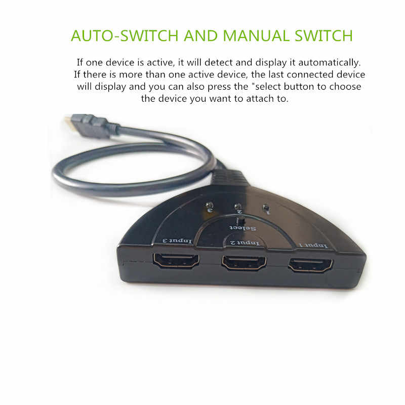 Mini 3 Port HDMI Splitter Adapter Cable 1 4b 4K*2K 1080P Switcher HDMI  Switch 3 in 1 out Port Hub for HDTV Xbox for PS3 for PS4