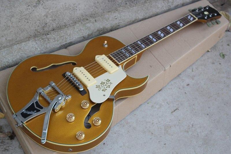 Livraison gratuite golden top p90 ramassage avec bigsby chrome matériel f trou creux corps jazz guitare électrique Livraison gratuite 1027