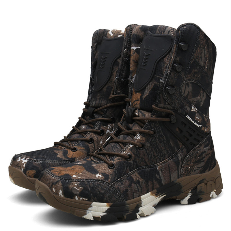 Field Combat Training High Top Camo Tactical Boots Spring Autumn Outdoor Climbing Hunting Waterproof Non slip