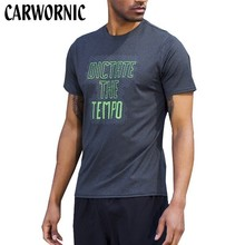 CARWORNIC New Gyms Shirt Men Summer Style Short Sleeve T-shirt Slim Fit Elasticity Quick Dry Shirts Fitness Tees Tops Clothing