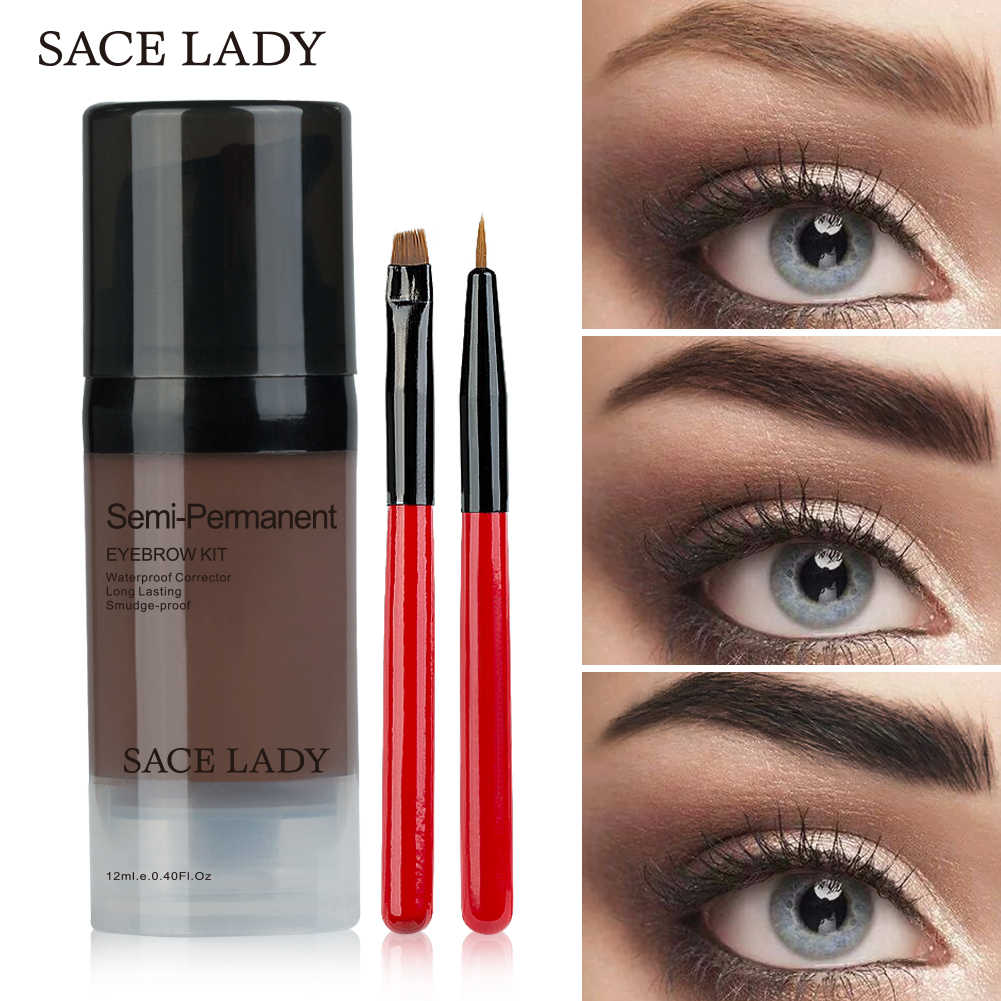 Sace Wanita 6 Warna Henna Alis Gel Tahan Air Warna Makeup Brush Set Coklat Penambah Mata Brow Dye Cream Make Up cat Kosmetik W