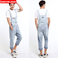 Plus Size S 5XL Mens Denim Overalls Dark Washed Bleach Jeans Capris Loose Fit Cargo Pants