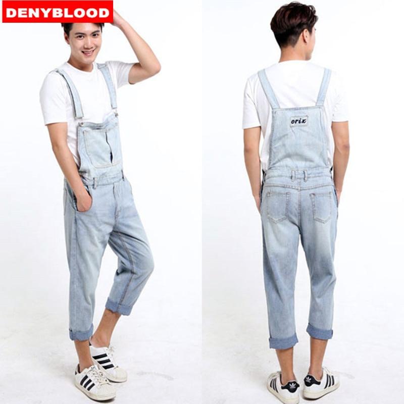 Mens Denim Loose Overalls Jumpsuits Bib Pants Jeans Suspenders Trousers Plus Sz