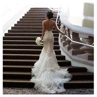 Сексуальная Спагетти ремень Русалка свадебное платье Оболочка Кружева Аппликации Свадебные платья длинным шлейфом Тюль пол Длина платья и